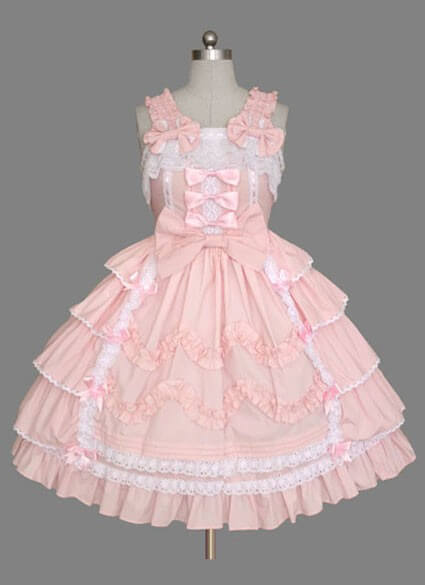 Light Pink and White Sleeveless Sweet Lolita Dress